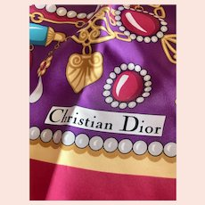 Vintage circa 1990s Christian Dior Carré Silk Scarf