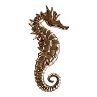 Vintage Cast Sterling With a  Copper Wash Seahorse Brooch