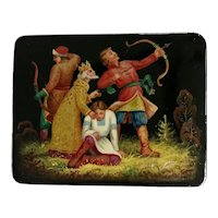 Vintage Russian Fairy Tale Black Lacquer Box