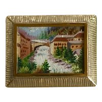 Circa the 1890's Miniature Oil on Board Landscape Painting Brooch Made in Austria