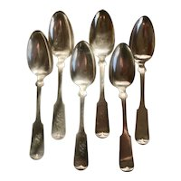 Circa 1879 Set of Six Rogers. Smith & Co. Silver Plate Serving Spoons in the pattern Tipped