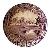 Vintage Plate Enoch Woods Purple Wales Castle from Wood and Sons England