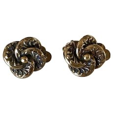 Arts and Crafts Period Gold Floral Clip Earrings
