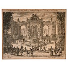 Rare 17th Century Copper Plate Engraving by Gabriel Perelle Published by Langlois