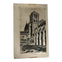 1929 Third State Basilica of the Madeleine, Veézelay Etching by John Taylor Arms.
