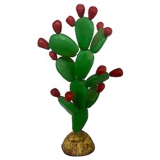 Vintage Mexican Cactus with Prickly Pears Sculpture