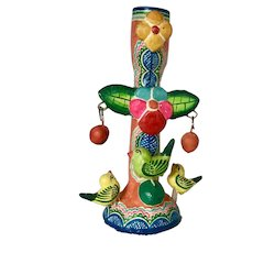 Vintage Mexican Tree of Life with Birds Candle Holder