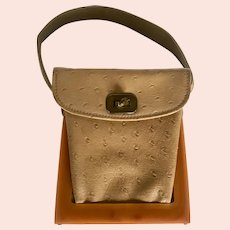 Vintage Butterscotch Bakelite and Ostrich Leather Box Purse