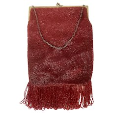 Vintage Large Red Micro Glass Bead Flapper Bag