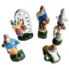 Set of 5 Vintage Mexico Miniature Clay Women Folk Art Figurines