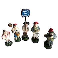 Vintage Set of 5 Mexico Miniature Clay Folk Art Men Figurines