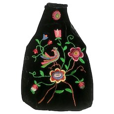 Victorian Black Velvet Embroidered Hobo Handbag