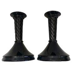 Vintage Black Amethyst Glass Candle Holders
