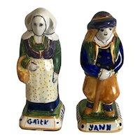 Vintage Pair of signed Henriot Quimper France Figurines