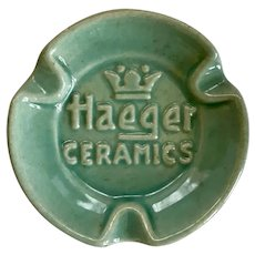 Vintage Crown Haeger Aqua Advertising Ashtray