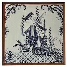 Vintage Bjorn Wiinblad Nymolle Denmark Ceramic Tile Trivet