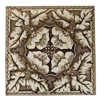 Aesthetic Movement Craven and Dunnill Floral Ceramic Tile