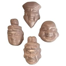 Vintage Pat Young Ceramics Buddha Faces Figurines or Wall Hangings