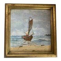 Impressionist Seascape Oil on Board by Louis W. Curran (1889-1918) American