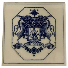 Vintage Society of Apothecaries Delft Blue Tile  Opiferque Per Orbem Dicor