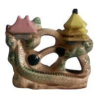 Vintage Pagoda and Sea Serpent Ceramic Aquarium Figurine