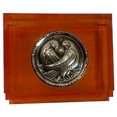 Vintage Sterling Silver Dove Medallion Orange Lucite Vanity Box