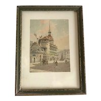 Watercolor Cityscape by Listed American Artist William Henry Emmerton