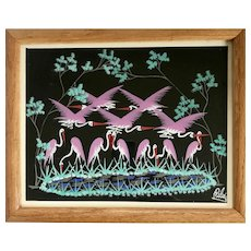 Vintage Signed Gouache Flamingos on Black Paper Painting