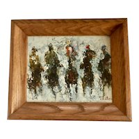 Abstract Impressionism Horse Racing Oil on Canvas Painting