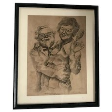 Amusing Caricature Illustration of Colonel Sanders and Julia Childs by Robert Pryor