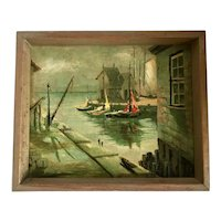 Artist Signed Seascape Harbor View Oil on Canvas Painting