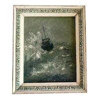 Vintage Ship at Sea Seascape Oil on Canvas Board