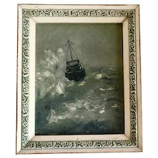 Vintage Ship at Sea Seascape Oil on Canvas Board