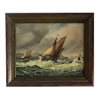 Antique Sailing Ships in Rough Seas Oil on Canvas Board