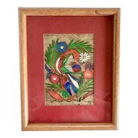 Vintage Mexican Nahua Indian Folk Art Bird and Flowers Painting on Bark Paper