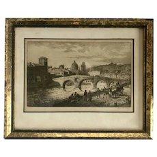 Ponte Pietro Verona Engraving Signed Axel H Haig