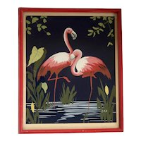Vintage Signed Gouache Flamingos on Dark Blue Paper Painting