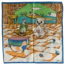 Vintage Linen Illustrated Handkerchief