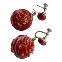 Victorian Hand Carved Carnelian & Early Plastic Rose Drop Earrings