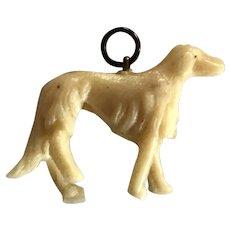 Celluloid Detailed Borzoi Dog Charm