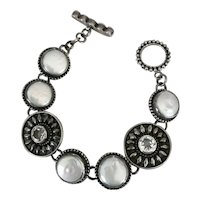Echo of The Dreamer Sterling Pearl and White Topaz Toggle Bracelet