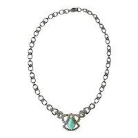 Jugendstil Sterling Silver Chrysoprase and Marcasite Necklace