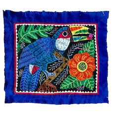 Vintage Mola Art Blue Toucan by Kuna Artisans from the San Blas Islands