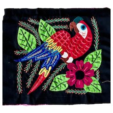 Vintage Mola Art Red Parrot by Kuna Artisans from the San Blas Islands