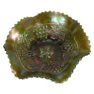 Northwood, Green, Grape & Cable Variant, Carnival Glass Bowl