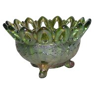Northwood, Green, Wild Rose, Open Edge, Carnival Glass Nut Bowl