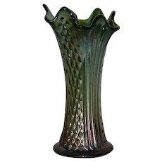 "Fenton, Green, 8 1/4"", Diamond Points & Columns, Carnival Glass Vase"