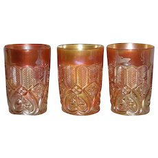 Three, Scarce, Millersburg,  Marigold, Feather & Heart, Carnival Glass Tumblers
