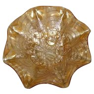 Imperial, Marigold, Pansy, Carnival Glass Ruffled Bowl