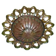 Northwood, Green, Wild Rose, Open Edge, Carnival Glass Candy Dish